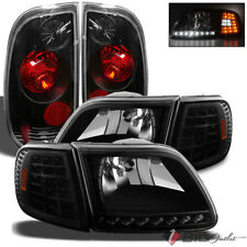 For 97-03 Ford F150 Styleside LED Black Headlights+Tail Lights Lamp Head Light