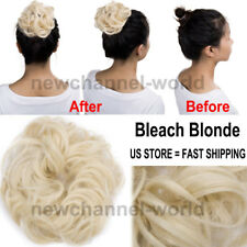 Women Wave Curly Clip On Hair Bun Piece Updo Cover Hair Extensions Donut Roller
