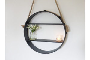 Industrial Round Metal Shelf with Rope detailing