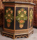 AUTHENTIC Tony Duquette Indian black polychromed wood side tables w/ provenance