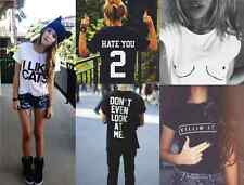 Women Men Summer Graphic T Shirt Letter Print Funny Loose Top Hate You 2 Titties