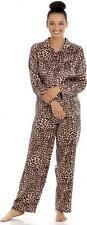 Camille Womens Long Sleeve Button Front Full Length Satin Leopard Pyjamas