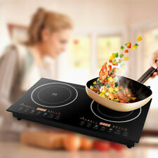 Electric Double Burner Countertop Hot Plate Cooker Stoves Cooktop 2400W Lcd