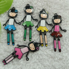 free ship 52 pieces alloy enamel mixed colors girl charms pendant 54x24mm #4496