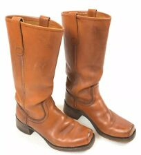 Vintage 60s Tall Leather Campus Boots Womens 9.5 Men 7.5 Us Hippie Boho Festival
