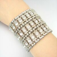Faceted Rhinestone Metal Beads Charm Stretch Fashion Bracelet Statement