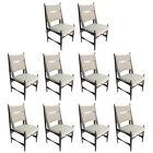Set of Ten 1960s Brazilian Dining Chairs in Beige Linen