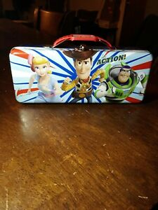 Disney Toy Story Tool Tin Pencil/Pen Case with Handle Latch & Hinge Brand NEW!