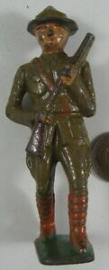 1930's Cast Iron Grey Iron Soldier Marching With Rifle #1