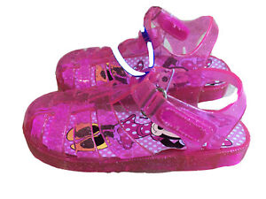 NEW Disney Minnie Mouse Pink Sparkle Jelly Water/Land Sandals Toddler Size 7