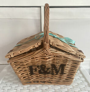 Fortnum & Mason (F&M) Mini Huntsman Wicker Picnic Hamper Basket  F&M Ribbon