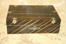 Antique Flip-Lid Wooden Jewelry Trinket Sewing Box w/ Art-Deco Faux Paint Finish