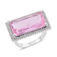 PINK POSH WHITE SIMULATED DIAMOND ELONGATED HALO RING SIZE 6 SILVER TONE FASHION