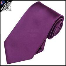 Mens Plum Grape Purple Plain Men's Tie Necktie