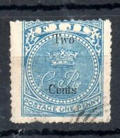 Fiji QV 1872 2c on 1d pale blue good used #13 Sold as IS WS13474