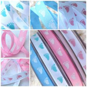 1m x 10mm Silky Grosgrain Baby Ribbon Feet Footprint Pink white Blue Shower Gift