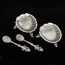 Antique Euro 800 Silver Pair Nut /Mint Dishes Shell Motif Footed with 2  Spoons