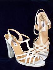 Nib! Gasuccio & Scalera Italian Leather Strappy Sandals in Cream 39.5 8.5