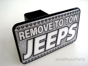 """**REMOVE TO TOW JEEPS HITCH COVER** car/truck/suv trailer 2"""" receiver plug cap"""