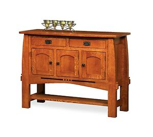 Amish Mission Dining Room Sideboard Server Buffet Colebrook Inlays Solid Wood