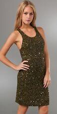 Alice+Olivia Sequin Embellished Tank Racerback Safari Green Dress M 6 8 $440