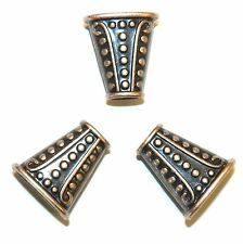 ML396p Antiqued Copper Line & Dot Textured 18mm Flat Oval Metal Bead Cone 25/pkg