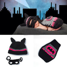 Crochet Newborn Black Batman Hat Mask&Cape Photography Props Knitted Girl pink