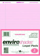Enviroshades Legal Pads, 8-1/2 x 11-3/4 Inches, Pink, 50 Sheets, Pack of 3