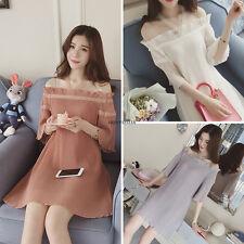 Korean Womens Chiffon Summer Slim Off Shoulder Pleated Party Mini Dress Black S