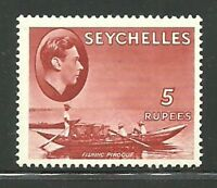 Album Treasures Seychelles Scott # 148  5R  George VI  Fishing Boat Mint LH
