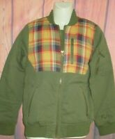 MENS ECKO UNLTD PLAID GREEN BOMBER JACKET QUILTED LINED SIZE S
