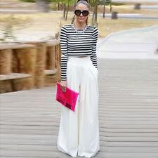 Women Chiffon Wide Leg Loose Pants High Waisted Skirt Pants Palazzo Trousers US