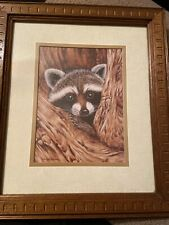 Homco Home Interior Kay Lamb Shannon Raccoon In Tree Wood Picture Frame
