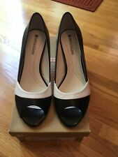 Naturalizer 6 1/2 Leather Black And White Open Toe Heels