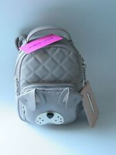 BETSEY JOHNSON Mini Dog Backpack & Key Fob Card Case Set Gray/Blush NWT $98