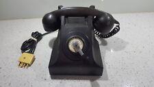 VINTAGE BLACK BAKELITE HAND WIND CRANK TELEPHONE ( MAGNETO TABLE PHONE )