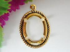 2x GOLD-PLATED CABOCHON OR CAMEO SETTINGS, FIT 18x13mm CABOCHONS