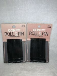 Lot of 2 Conair Roller Pins, Black 18 ea