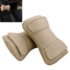 2pcs Beige Leather Auto Car Neck Rest Cushion Headrest Pillow Mat