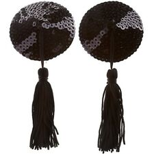 BRAND NEW SEXY ROUND BLACK  SEQUIN NIPPLE TASSLE/TASSEL - HEN PARTY - BURLESQUE