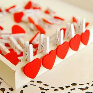 10Pcs/Pack Wooden Pegs Wooden Love Heart Clips DIY Photo Banner Craft Decor Clip