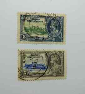 Straits Settlement 1935 Silver Jubilee 5c & 8c used BN239