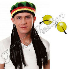 NEW RASTA JAMAICAN BOB MARLEY HAT WIG DREADLOCKS & GLASSES CARIBBEAN FANCY DRESS
