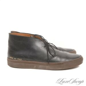 Common Projects Made in Italy Black Leather 1656 Chukka Sneakers Shoes 44 NR