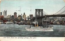 B2088 New York East River front and Broklyn Bridge 1911  front/back scan
