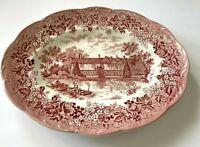 "J & G Meakin Romantic England Red Ightham Mote Kent 12"" Oval Serving Platter B"