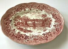 "J & G Meakin Romantic England Red Ightham Mote Kent 12"" Oval Serving Platter B"