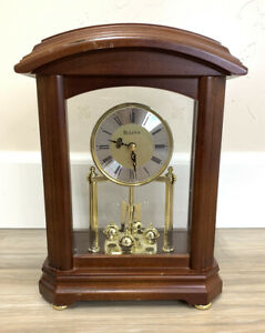 Bulova B1848 Nordale Clock Walnut Wood Finish (WORKING)