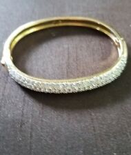 Vintage Joan Rivers Classic Collection Bangle Bracelet Pave Rhinestones Gold