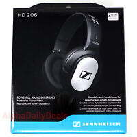 New Sennheiser HD 206 Wired Over Ear Headphones Closed-Back Bass Silver Black